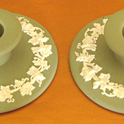 Lovely Vintage English Green Jasper Ware Candle Holders with Grapes & Leaves