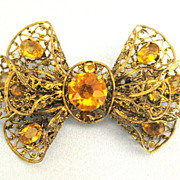 Lovely 1920's Filigree Czech Glass Bow Brooch