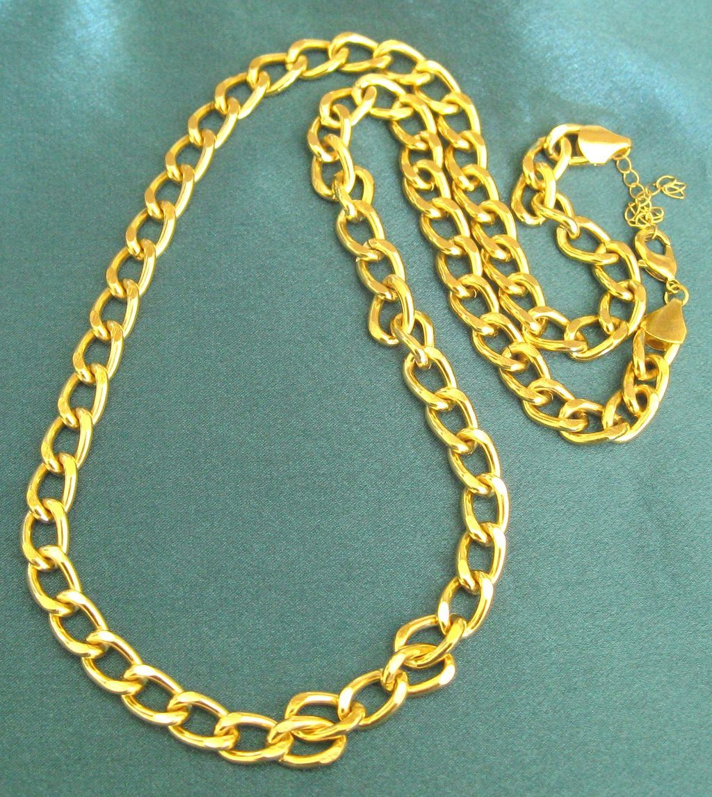 Chunky bold heavy chain gold tone chain necklace 34 for Jewelry making classes san diego