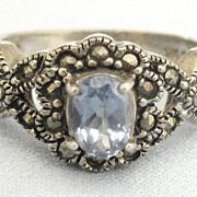 Ornate Vintage Sterling Blue Topaz and Marcasite Ring- Size 7 1/4