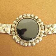 Stunning Vintage Chunky Onyx Sterling Silver Bracelet