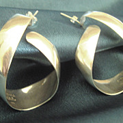 Sleek Signed Vintage Taxco Sterling Silver Pierced Earrings