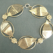 Lovely Vintage Signed Sterling Silver Leaves & Flowers Bracelet
