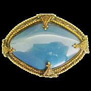 Lovely Vintage Czech Blue Glass Brooch