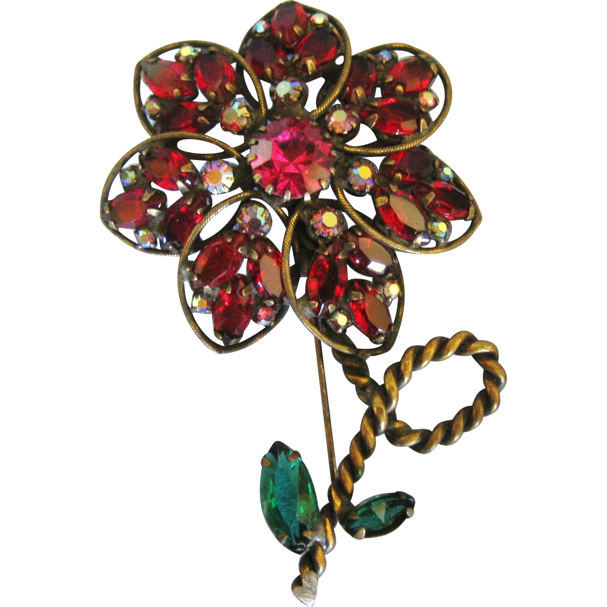 vintage weiss deep scarlet red glass flower brooch red. Black Bedroom Furniture Sets. Home Design Ideas