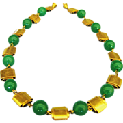 Vintage Green Glass & Rolled Brass Tone Metal Bead Necklace