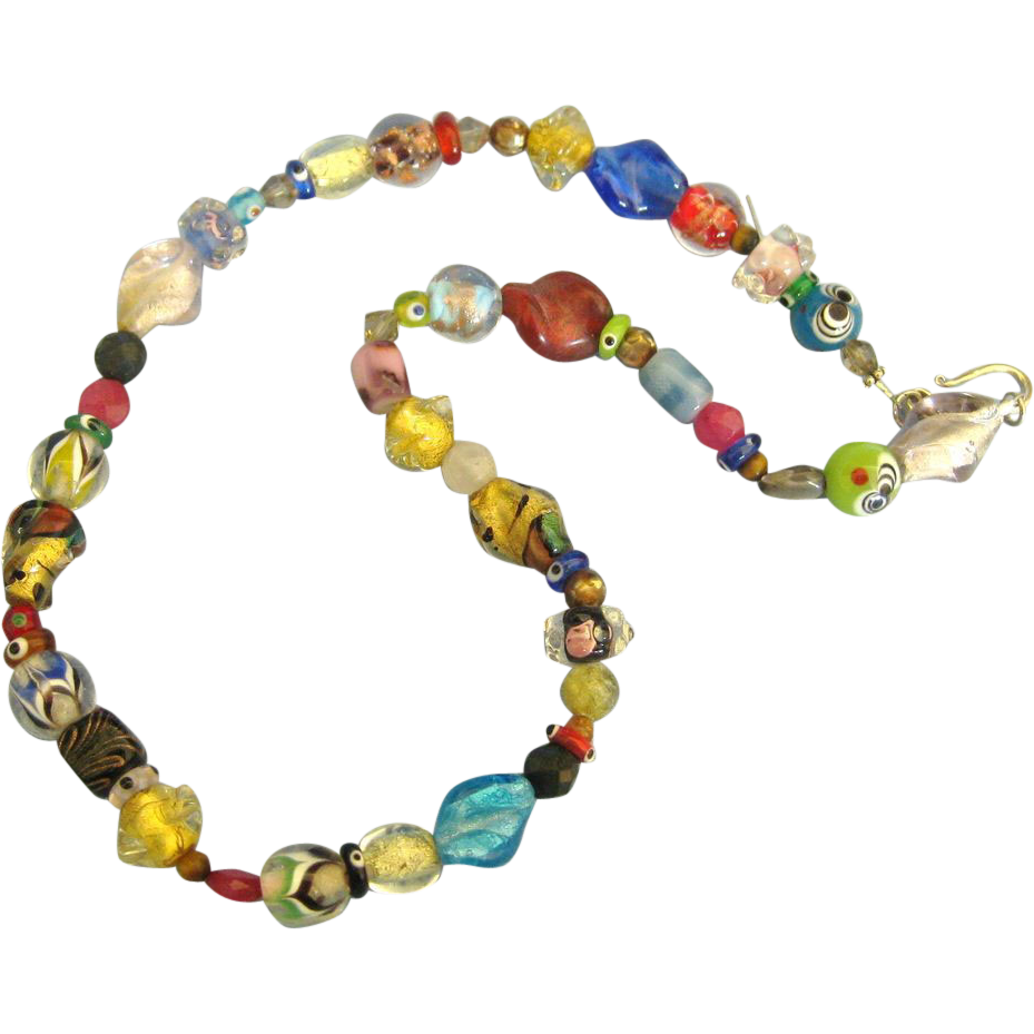 vintage colorful glass bead necklace from