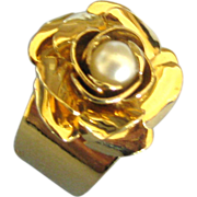 Vintage Gold Plated Rose Ring with Genuine Pearl
