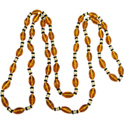 Vintage Faceted Czech Glass Bead Sautoir Necklace- 58 Inches