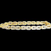 Vintage Sterling Vermeil Pave Design Link  Bracelet
