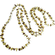 """Chunky Vintage Beige & Brown Shell 60"""" Necklace"""