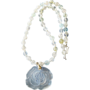 Large CLEAR Glass Rose Pastel Crackle Glass Bead Necklace