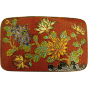 Lovely Floral Chinese Cloisonne Belt Buckle