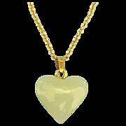 "Vintage Jade 14K Puffy Heart Pendant & 18"" Chain"