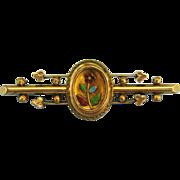Pretty Victorian Rose Gold Filled Enamel Floral Brooch