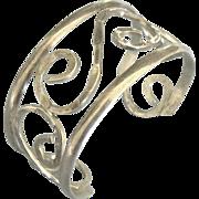 Vintage Hammered Open Work Sterling Cuff Bracelet