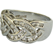 Sparkling Vintage Woven Sterling CZ Ring Size 7 3/4