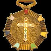 "Vintage Masonic Rainbow Girls ""Cross of Color"" Medal"