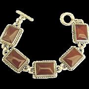 Lovely Sterling Silver Carnelian Link Bracelet