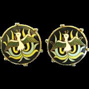 Handsome Vintage Cloisonne Enamel on Gold Tone Cuff Links