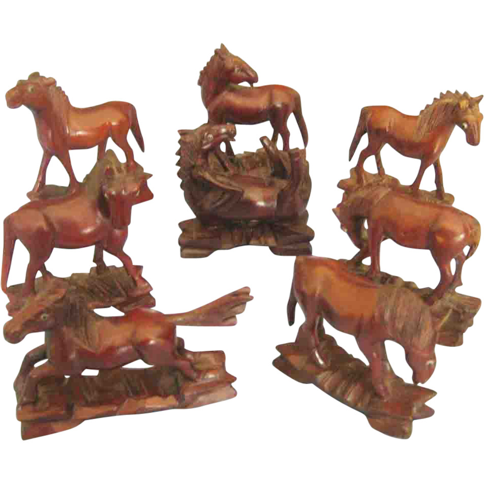 Lovely Hand Carved Chinese Set Of 8 Wooden Horses From
