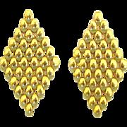 Gorgeous Vintage 14K Gold Linked Mesh Pierced Earrings