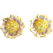 Glittering Signed Graziano Enamel AB Rhinestone Flower Earrings