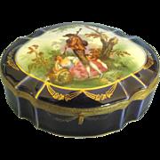 Vintage Romantic Couple Large Cobalt Porcelain Box