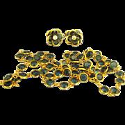 Vintage Austrian Deep Blue Bezel Set Crystal Necklace and Earring Set