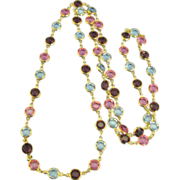Vintage Pastel Austrian Crystal Bezel Set Necklace- 36 Inches