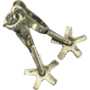 Vintage Sterling Mechanical Cowboy Boot Spurs Charm