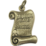 Vintage Diploma Charm- Beau Sterling (Not Engraved)