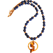 Lovely Blue Lapis and Copper Bead Necklace- 20 Inches