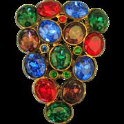 Large 1930's Colorful Czech Glass Dress Clip