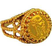 Vintage Ornate 14K Faux Coin Ring
