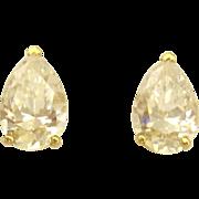 Sparkling 14K Pear Shaped CZ Pierced Earrings