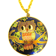 Adorable Cloisonne Owl Pendant on Gold Tone Chain