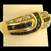 Lovely 14K Sapphire Baguette Ring- Size 6 1/2