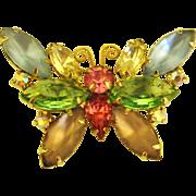 Sparkling Vintage Pastel Rhinestone Butterfly Brooch