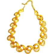 Mid Century Vintage Coiled Yellow Gold Tone Necklace
