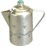"""Vintage Signed Sterling Miniature Coffee Pot- 1 1/4"""" High"""