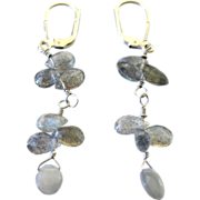 Lovely Labradorite Sterling Silver Pierced Lever Back Earrings