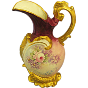 Vintage Hand Painted Porcelain Ewer with Florals