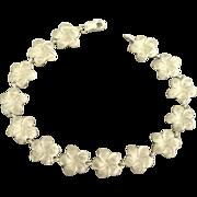 Feminine Sterling Plumeria Blossom Bracelet- Hawaii 1989