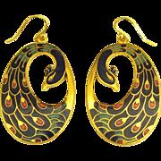 Stunning Enamel on Gold Plate Peacock Pierced Earrings