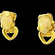 Dainty 10K Opal Heart Pierced Earrings