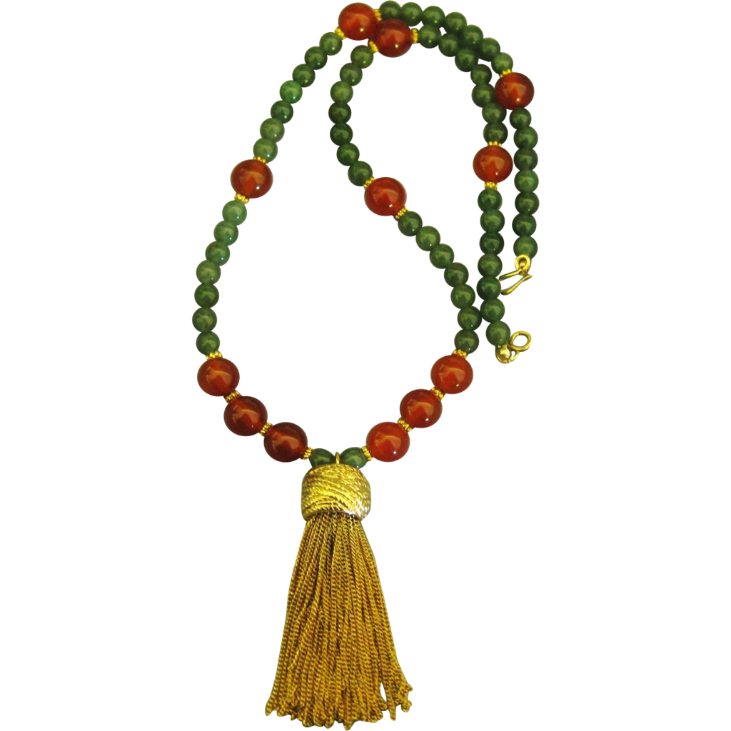 Regal carnelian and jade bead with chunky gold tone tassel for Jewelry making classes san diego