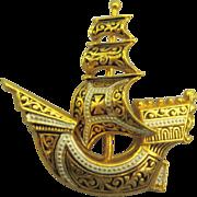 Vintage Spanish Damascene Galleon Ship Brooch