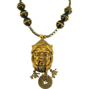 Fascinating Vintage Asian Brass Warrior Mask Necklace