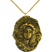 Lovely Art Nouveau Pressed Metal Cameo Brooch/Pendant with Gold Overlay
